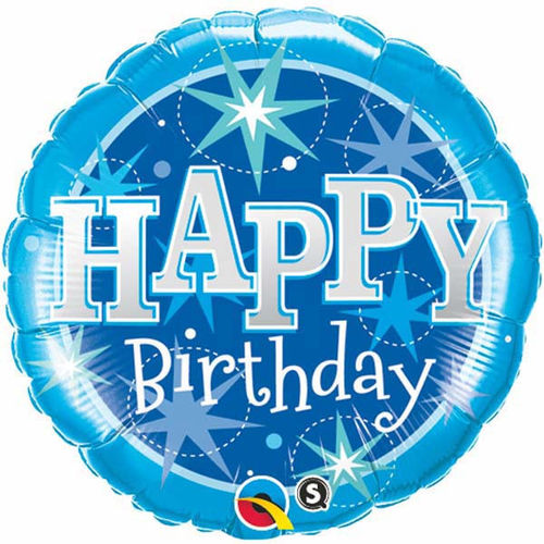 Happy Birthday Sparkled Blue Foil Balloon